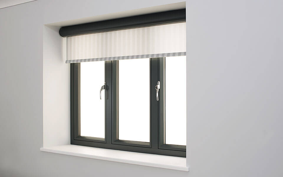 Black aluminium flush sash window interior view