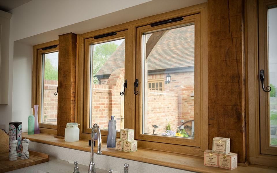 Oak effect uPVC flush sash window