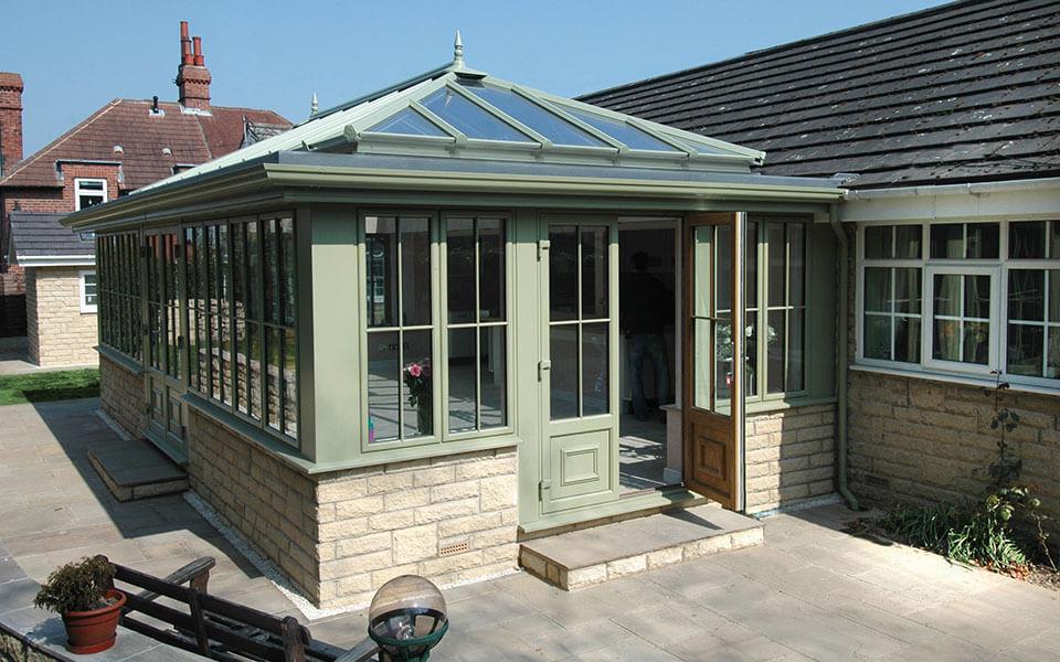 Sage green uPVC orangery