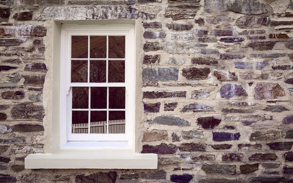 White uPVC sliding sash window