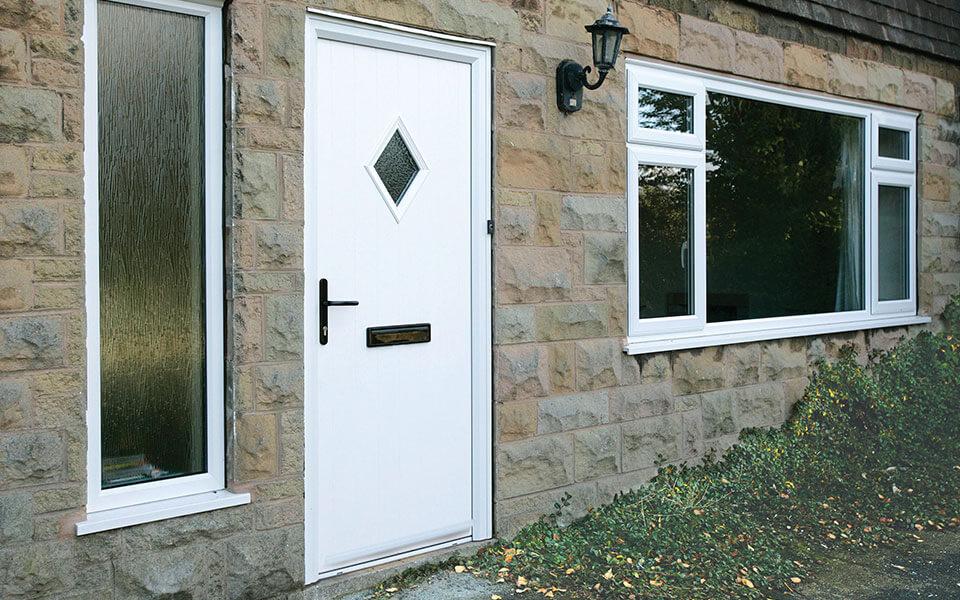 White composite door with black hardware