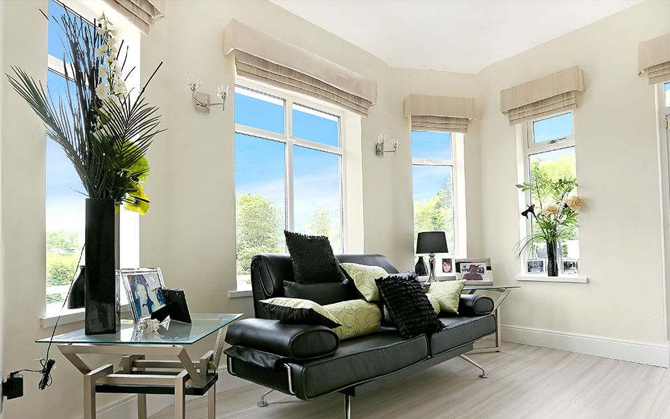 uPVC white casement windows interior view