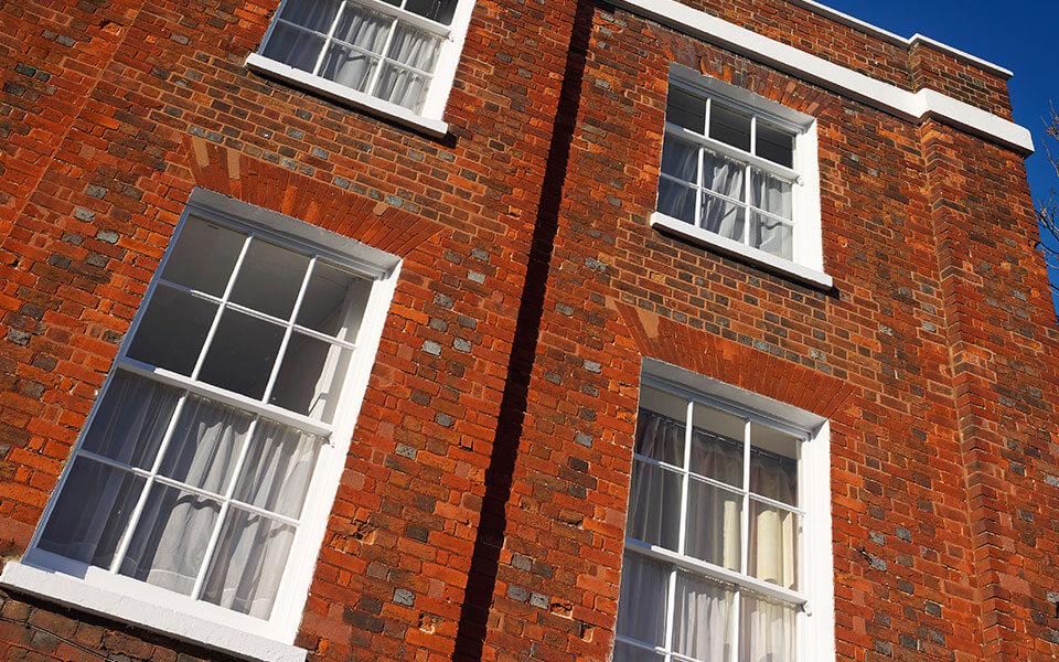 uPVC white vertical sliding windows